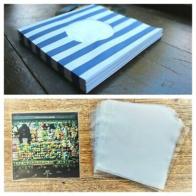 90 RECORD SLEEVES FOR 7″ VINYL - BLUE STRIPED 140 GSM & CLEAR SLEEVES 45RPM EPs