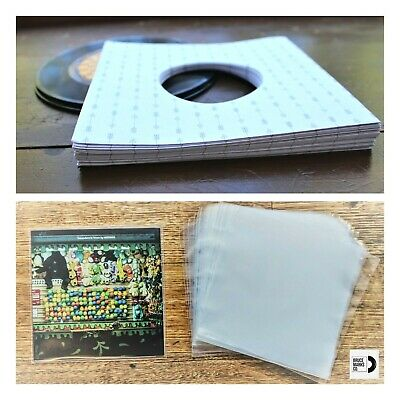 90 RECORD SLEEVES FOR 7″ VINYL - ARROWS B&W 140 GSM & CLEAR SLEEVES 45RPM EPs
