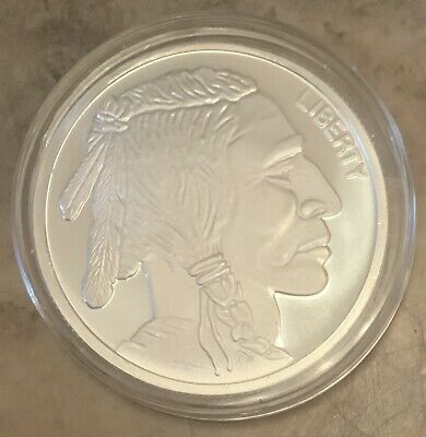 Indian Warrior Silver Colorized PF Round 2018 American Western Skulls Series