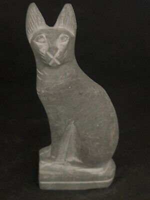 Rare Ancient Egyptian Stone Cat Amulet 26th DYN 680 Bc