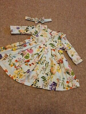 Baby Girls Ted Baker Dress and Matching Headband Age 3-6months