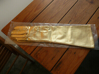 NEVER WORN DENTS GOLD LAME 1950's COCKTAIL GLOVES. IN ORIGINAL DENTS PACKET