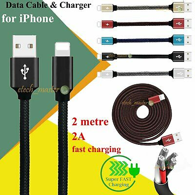 Heavy Duty Braided Lightning USB Charger Cable 1M 2M 3M For iPhone 11 X 8 7 6 5