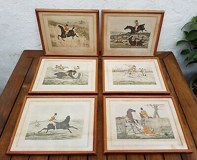 6 x Old Antique Early 19th Century Hand Coloured Engravings-Hunting-Horses