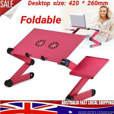 360° Adjustable Foldable Laptop Notebook PC Desk Table Stand Bed + Cooling Fan