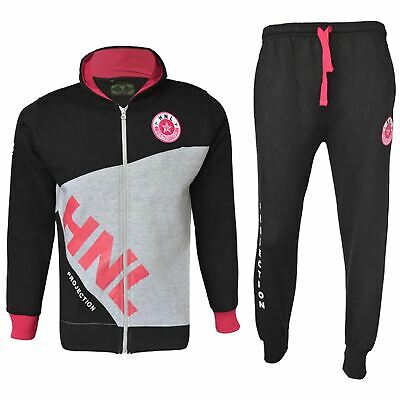 Kids Boys Girls Tracksuit Black & Pink HNL Zipped Top & Bottom Gym Wear Joggers