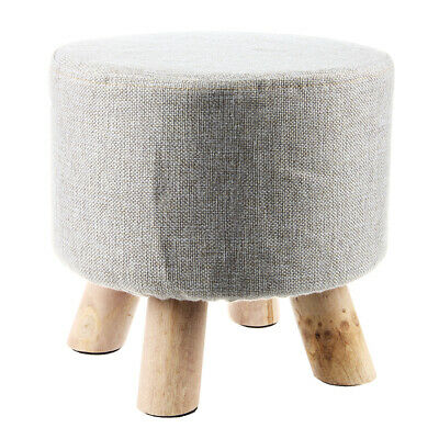 Modern Luxury Upholstered Footstool Round Pouffe Stool + Wooden Leg Pattern M7H3
