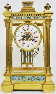 Antique French 8Day Brass & Champleve Ornate 4Glass Table Regulator Mantle Clock