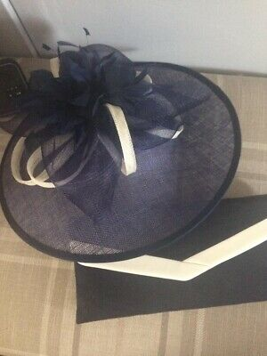 Ladies Navy And Creme Fascinator/Hat And Clutch Bag