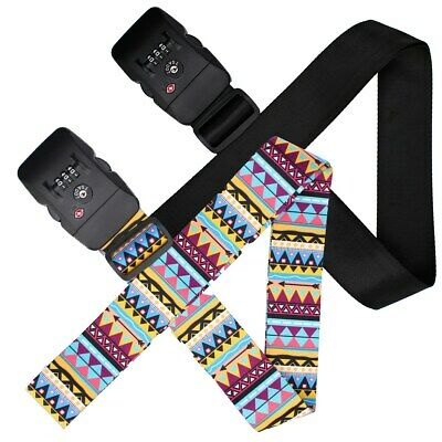 Luggage Straps with Lock,Adjustable NON-SLIP Travel Luggage Strap TSA Suitcase