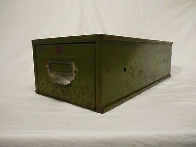 Vintage 1950'S Industrial Green Metal Filing Drawer, Index Cabinet, Home Office
