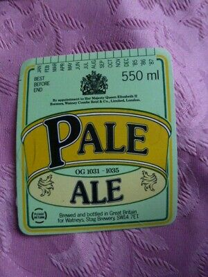 SMALL MINT WATNEYS LONDON BEST PALE ALE BREWERY BEER BOTTLE LABEL