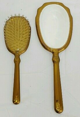 Vintage Victorian Ornate Gold Plated Metal Hair Brush and Mirror Matching Set