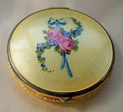 Antique GUILLOCHE *Hand Painted* ENAMEL COMPACT POWDER ROUGE Dble Sided MARATHON