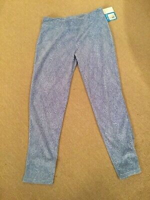NWT Columbia Girls Size XL (18-20) Light Blue Printed Thin Pile Leggings Ret$36
