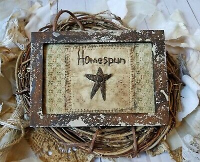 """Primitive Country Stitchery Home Decor 4x6 FRAMED """"Homespun"""" Embroidery"""