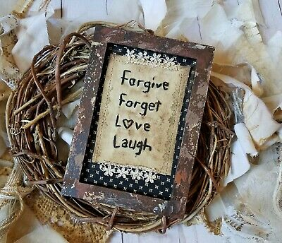 """Primitive Country Stitchery Home Decor 4x6 FRAMED """"Forgive"""" Embroidery"""