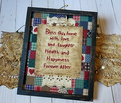 """Primitive Country Stitchery Home Decor 8x10 FRAMED """"This Home"""" Embroidery"""