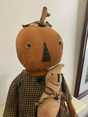 Primitive Pumpkin lady doll with ghost