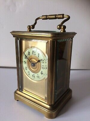 Antique French 8 Day Carriage Clock Brass Masked Dial Cased French Mantel Clock