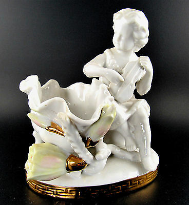Vintage Arnart Creation Music Boy Clam Porcelain Figurine Japan Marked 6977 (E43