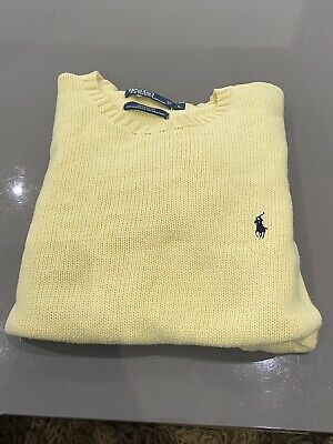 Polo By Ralph Lauren Mens Jumper Sweater L Yellow 100% Cotton