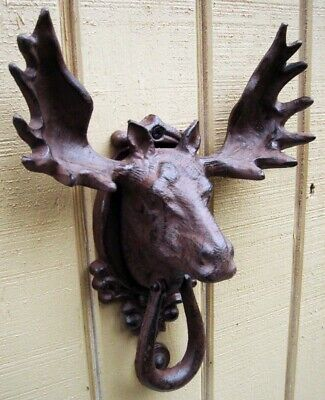Cast Iron Moose/Elk Head&Antlers Door Knocker Rustic House&Home Front Door Decor