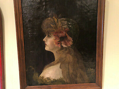 A remarkable oil painting of a lady-Nouveau period dated 1905
