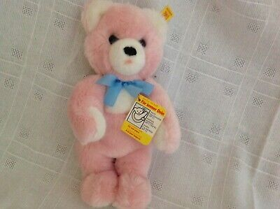 "Vintage Steiff Baby Pink Soft 10"" Bear With Squeak New With Tag"