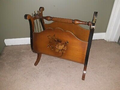 Antique Duncan Phyfe Lyre classical magazine rack stand Crocker Chair co. WIS