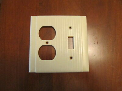 Vintage Bryant, Hubbell, P & S Uniline Ribbed Ivory Double Switch Outlet Cover