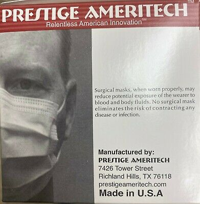 Face Mask Surgical Medical Earloop Prestige Ameritech Manufactured in Texas, USA