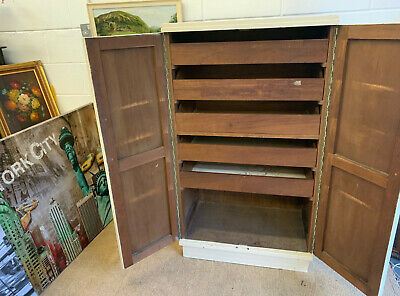 Vintage Edwardian Painted Linen Press Wardrobe Armoire Double Doors Shelves Old