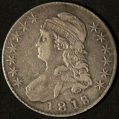 1818/7 United States Capped Bust 50c Half Dollar - Free Shipping USA