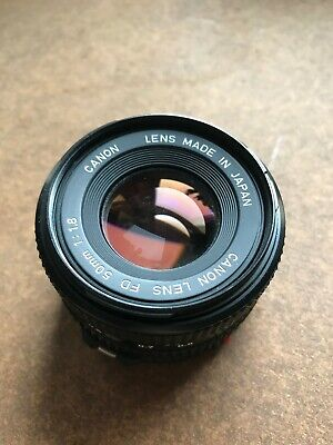 Canon FD 50mm 1:1.8 F/1.8 SLR 35mm film Camera Lens with original caps