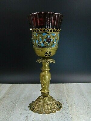 Lamp for Icon, Russian, Table Lampada Orthodox Antique old bronze & Red glas