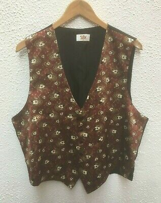 "Mickey Mouse Mans Waistcoat Red XL 46"" Button Silk Wedding Disney Party 46 Theme"