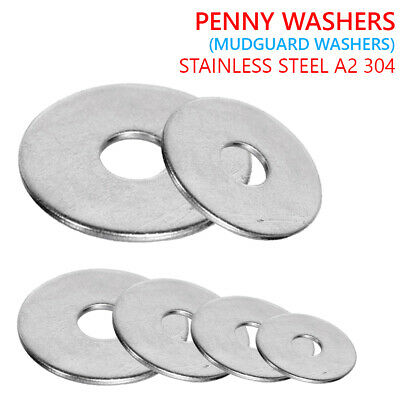 M4 M5 M6 M8 M10 M12 Penny Repair Washers Stainless Steel A2 304 Mudguard Washers