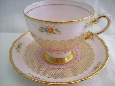 TUSCAN Pink CUP & SAUCER 8983H? Hand Painted Flowers & Lots of Gold