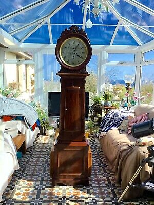 19th Century beautiful mahogany Scottish Drumhead Longcase Grandfather Clock