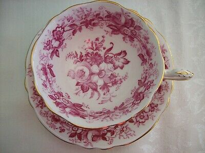 Paragon CUP & SAUCER -Maroon Roses A1352 Double Warrant  Almost a chintz pattern