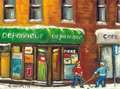 Montreal Winter Scene Depanneur With Hockey 6X8 Original Painting Grace Venditti