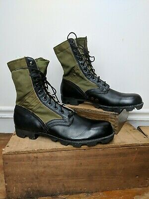 VTG Military Boots 12N Mens US Army Issue Canvas Leather Jungle Boots DEADSTOCK