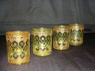 4   CULVER Double Old Fashion Glasses VALENCIA  13 Oz.  Gold Trim