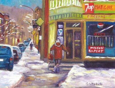 Montreal Winter Scene Plateau Store 7X9 Original Oil Painting By Grace Venditti