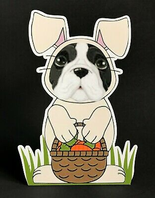 """Black and white French Bulldog Easter Bunny 7""""  Decor"""