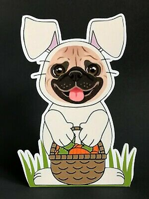 Fawn Pug Easter Bunny 7in Decor