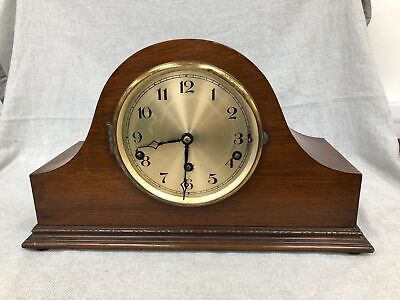 Vintage Wooden Wind Up Westminster Chiming Mantel Desk Clock Working #132