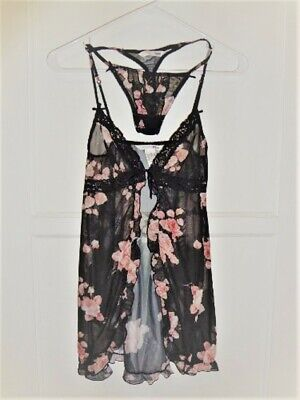 H&M Baby Doll Chemise and Thong Night wear Underwear Lingerie Set Size XS NWT
