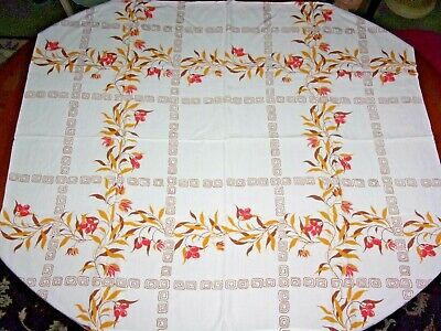"""VINTAGE 1950s SMALL COTTON TABLE CLOTH LEAF BERRY GEOMETRIC KITSCH 30"""" x 35"""""""